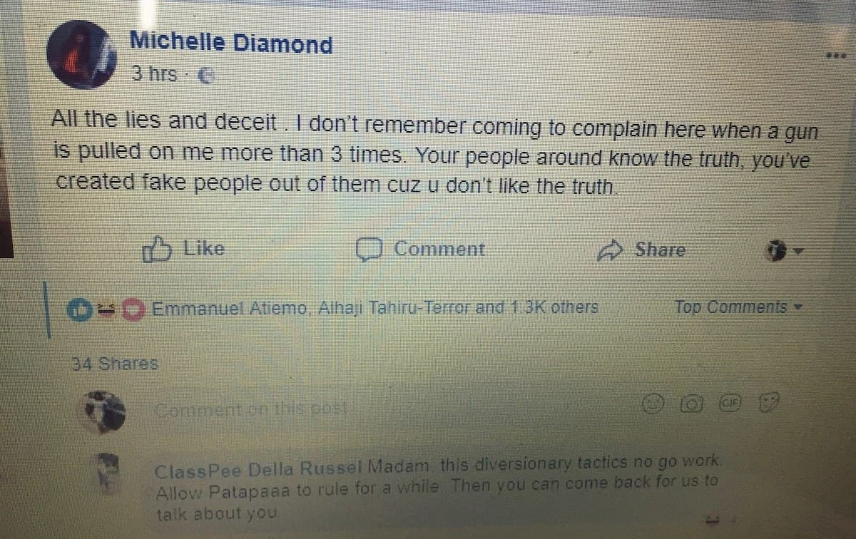 A screenshot of Shatta Michy's post which she has deleted from Facebook