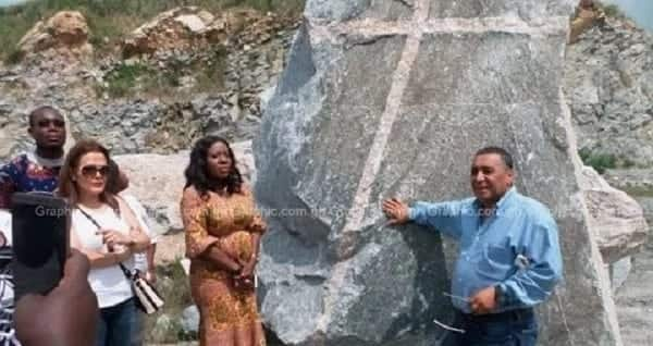 Mysterious rock with a big red cross discovered in Gomoa Ojobi