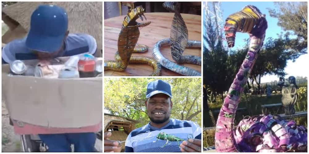 Creative disabled man stuns the internet with awesome artworks he made from beer can wastes, has sold one for GHc 4.6k