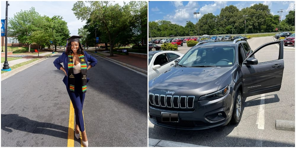 Joy as lady celebrates finishing from US school, buying a new car and getting appointed as Amazon manager in 1 year