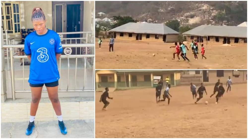Sign her already: Reactions as Nigerian lady dribbles men on football pitch in viral video