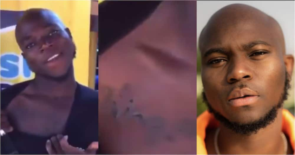 Diehard fan of King Promise tattoo's his name on his body, flaunts it in video