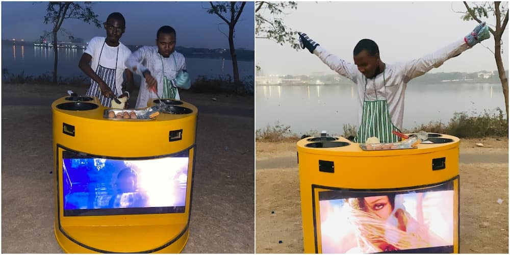 Nigerian man builds solar-powered cooker that has television, many react