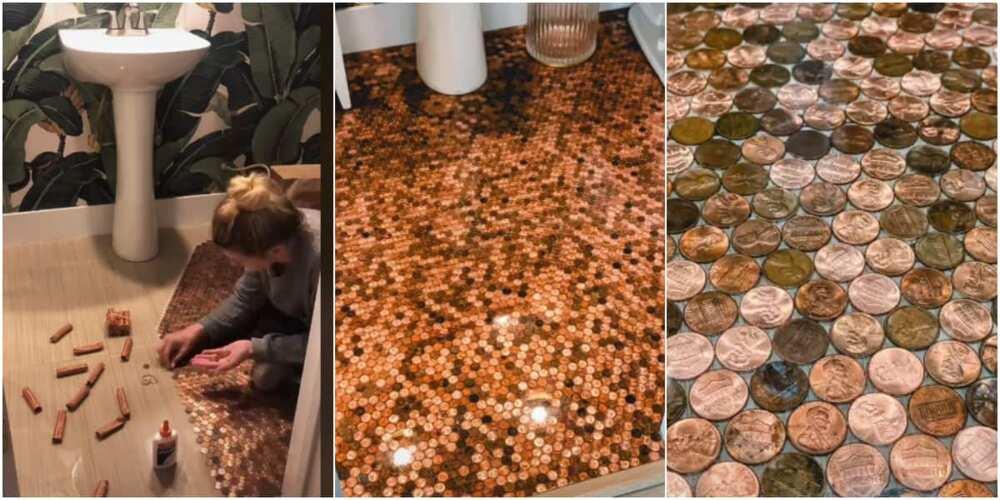 Jordan Darian glued pennies to her bathroom floor.
