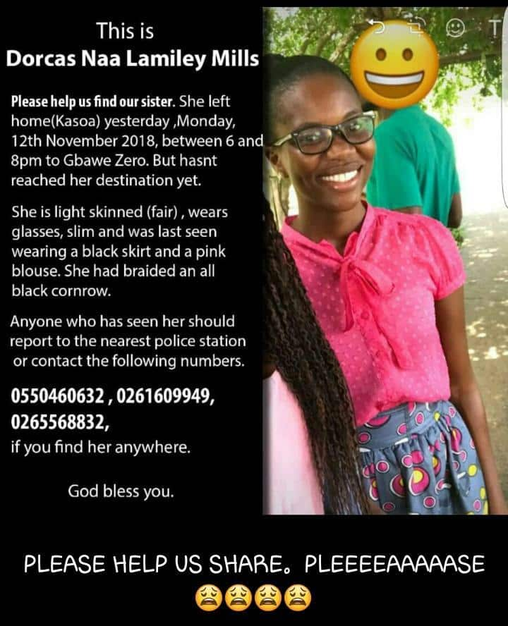 Dorcas Naa Lamiley Mills reported missing (Photo)