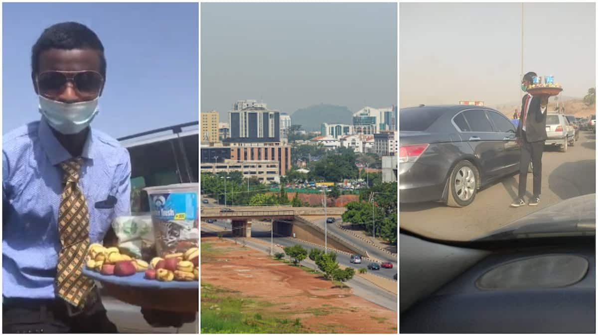 Young man with suit and tie hawks kola nuts, sweets in traffic; his video goes viral