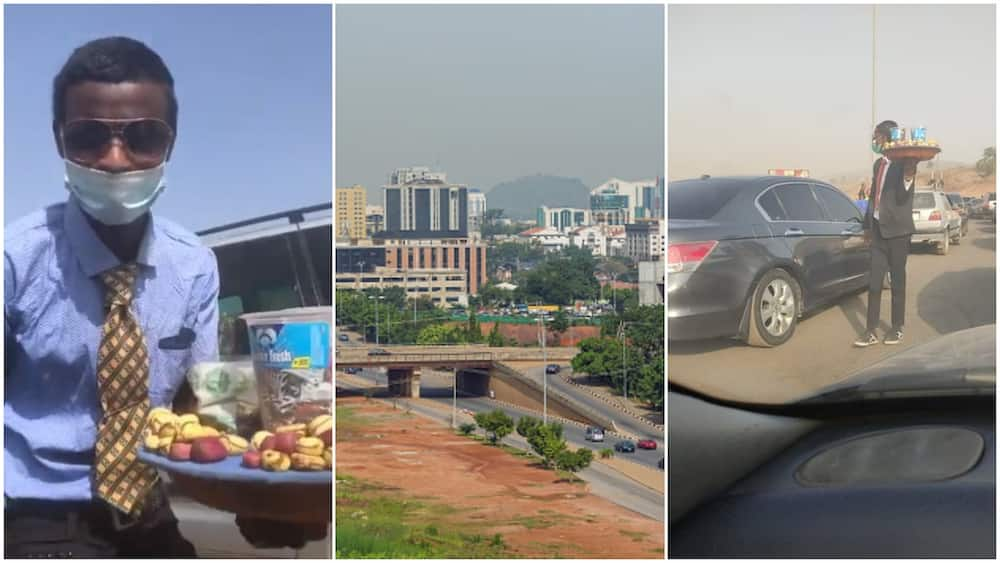 Young Nigerian man with suits and tie hawks kola nuts, sweets in Abuja traffic, his video goes viral