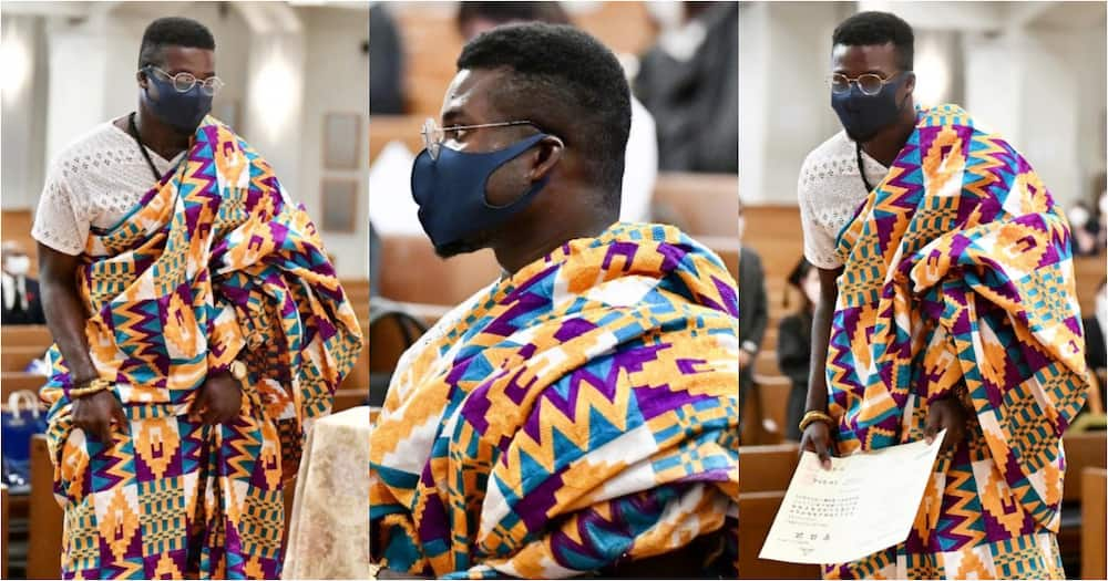 Frank Acheampong dazzles in kente cloth on Graduation Day