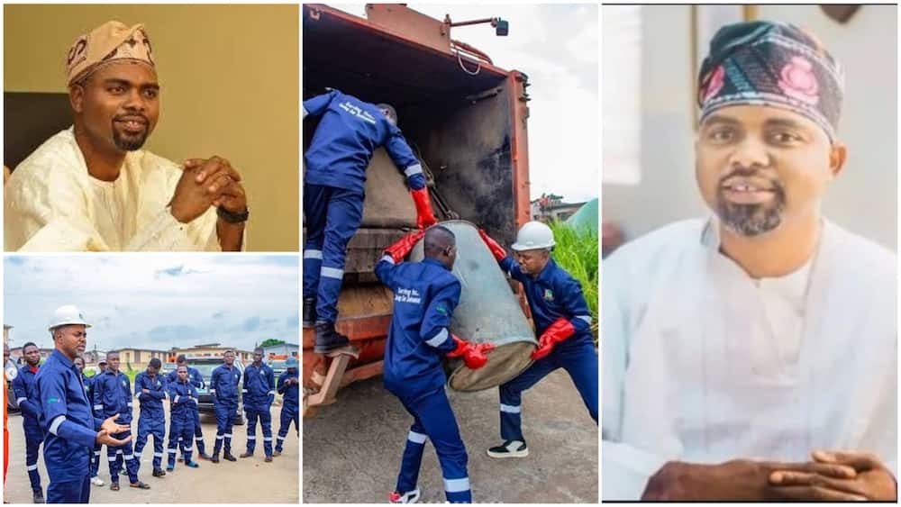 A collage showing the lawmaker and his employees. Photo source: Instagram/Oluomo Segun/New Telegraph