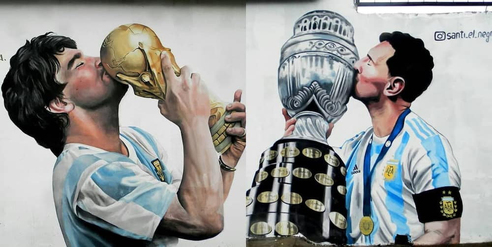 Maradona and Messi immortalized as their mural lights up Argentina
