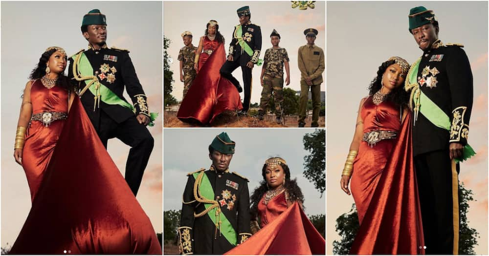 Nana Cheddar: Ghanaian millionaire drops beautiful photos as he flexes his wife and tall sons