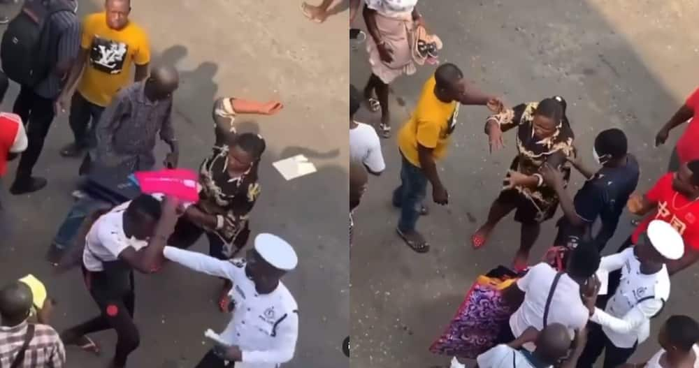 Hard girl: Ghanaian woman disciplines man who tried to steal from her in video