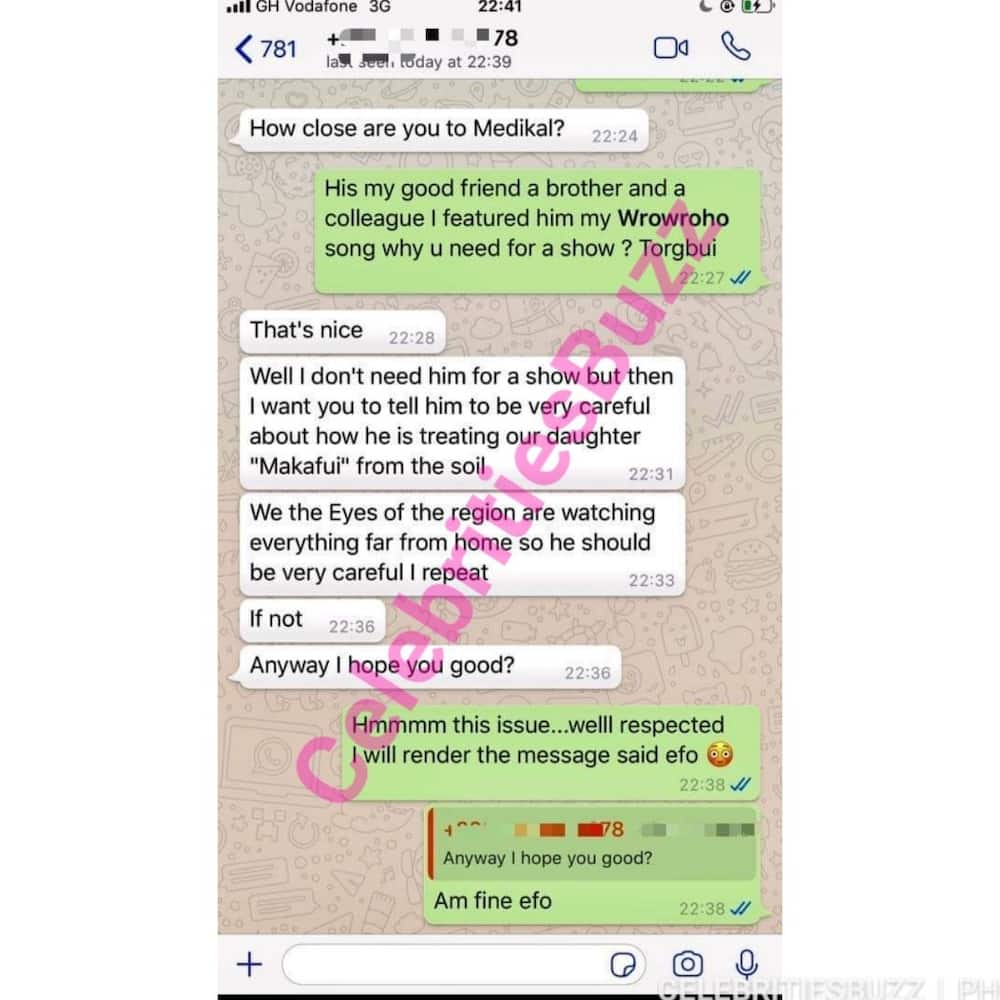 Volta Region Chief threatens to deal with Medikal over the breakup with Fella Makafui