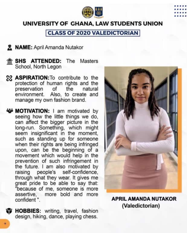 April Amanda Nutakor: Meet the young lady who made history with 3.84 GPA as a Law graduate from Legon
