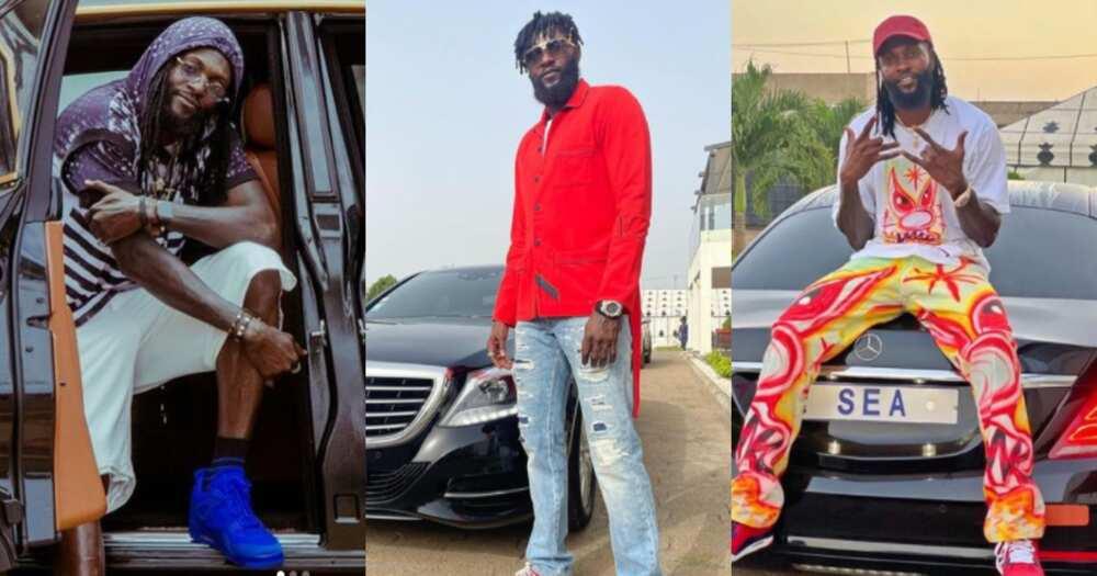Emmanuel Adebayor shows swag in old vans as he flaunts his luxury Mercedez Benz