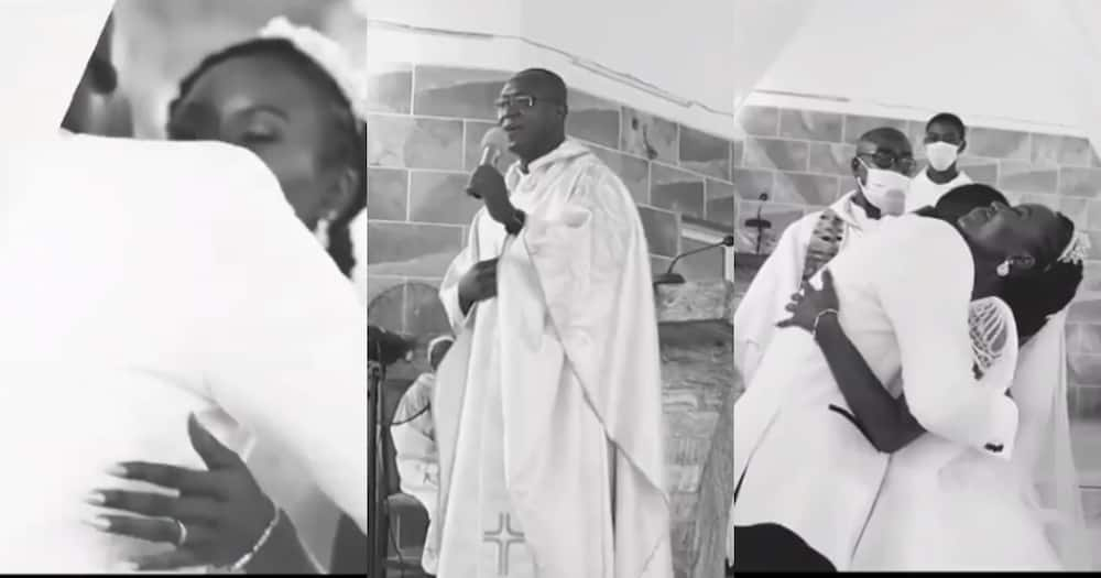 Ghanaian priest causes stir as he sings Kwabena Kwabena's song for couple in church (video)