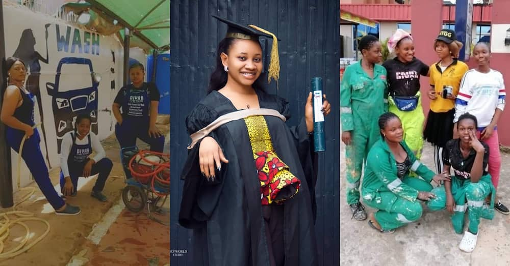 Lady starts all-girls car wash and painting business with employees before her graduation