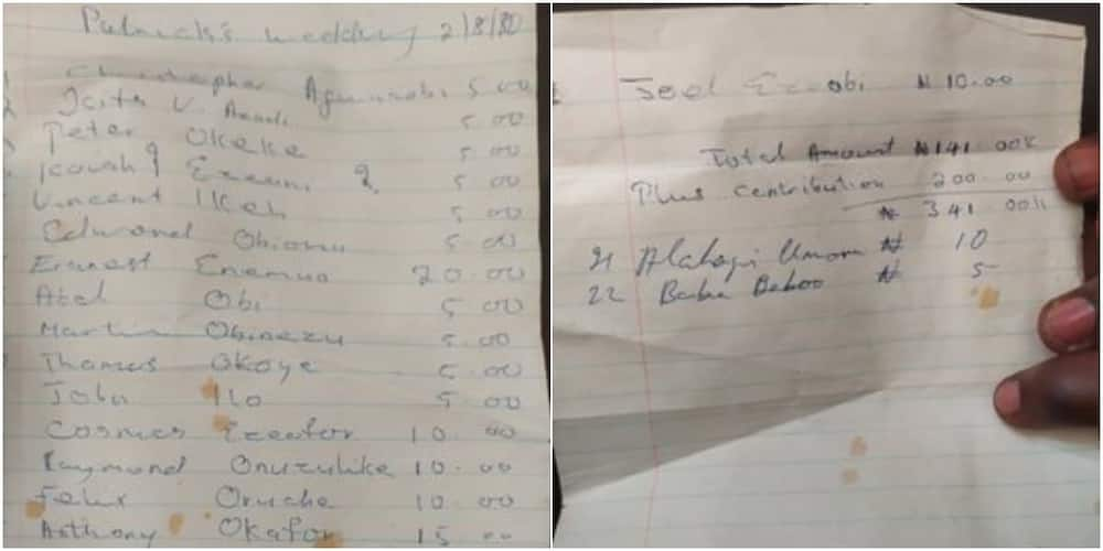 Nigerian Man Shares List of those who Contributed N356 for His Father's Glamorous Wedding in 1980, Many React