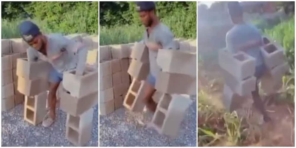 Reactions as man carries 6 bricks at once in incredible video