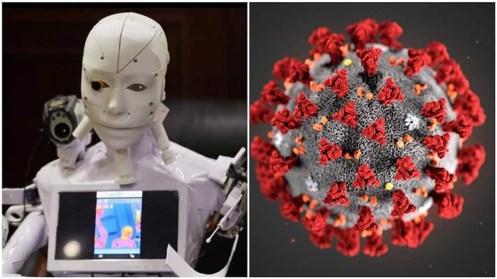A collage of the robot and coronavirus. Photo source: Face2Face Africa/NewScientist