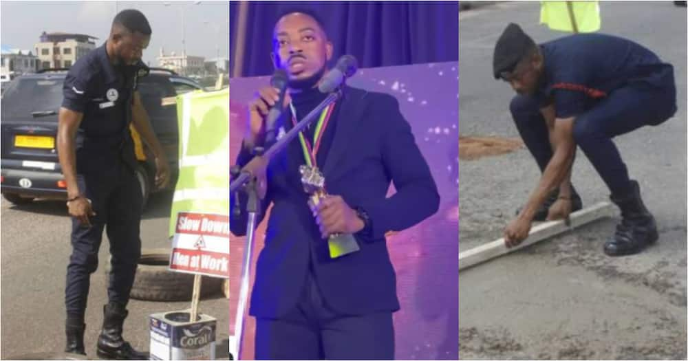 Simon Agbeko: Policeman who repaired damaged traffic light and potholes with own money wins award