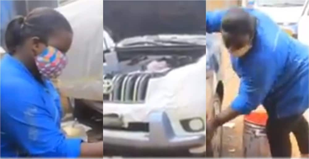 Esther Eshun: Meet Ghanaian female auto body repair and spraying technician who works at Suame Magazine
