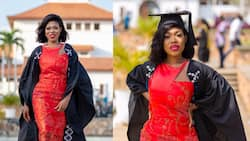 Strong heart as lady who loses her dad weeks to graduation poses with him on graduation day