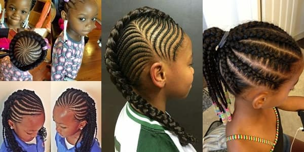 Ghana braids: tutorial, designs to the side, ponytail, for kids