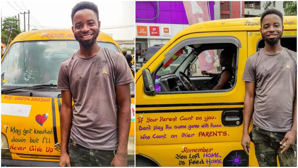 Man makes his danfo buses a 'mobile classroom' writes inspirational quotes all over the body