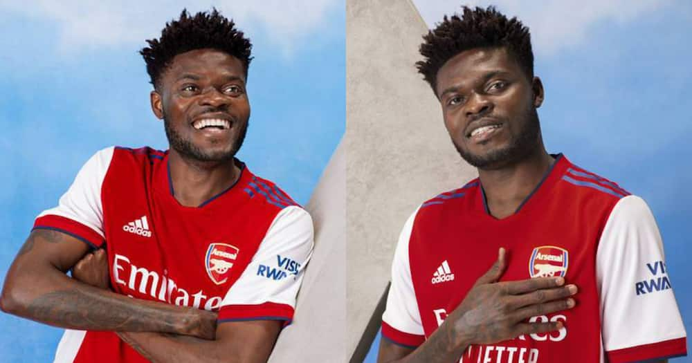 Thomas Partey looking fabulous as he models new Arsenal 2021/2022 home kit