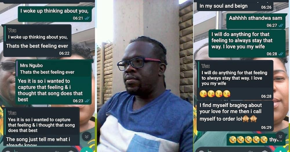 A man has shared heartwarming chats with his wife and Mzansi followers are taking notes. Image: Twitter/Facebook