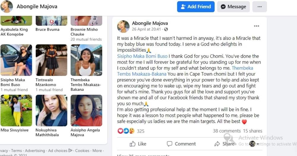 Abongile Majova has lamented the thug that stole her car and posted it on social media. Image: Facebook