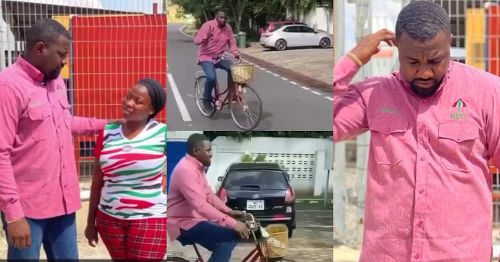 John Dumelo rides bicycle as he goes on door-to-door campaign (video)