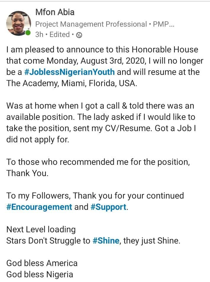 I'm no longer a jobless Nigerian youth - Lady celebrates after being offered job she didn't apply for in the United States, social media reacts