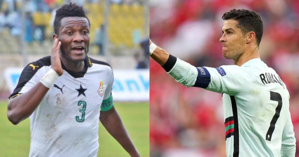 Asamoah Gyan and Cristiano Ronald