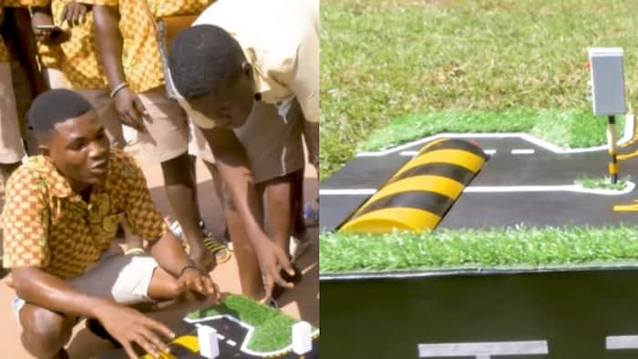 Ghanaian students generate power for traffic lights & street lights using speed ramps