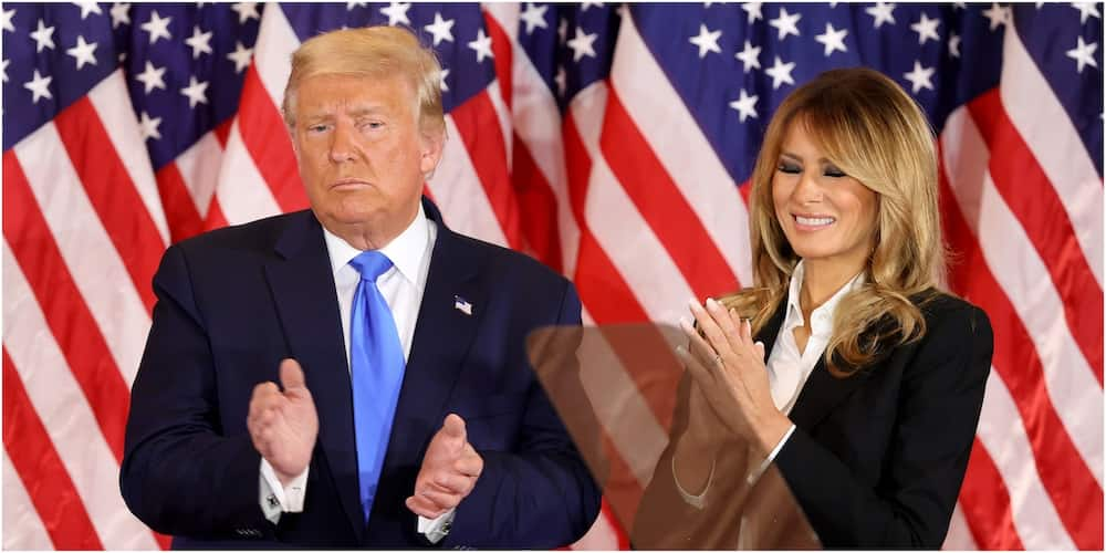 Incumbent US President Donald Trump and his wife Melania Trump in a past address. Photo: Getty Images