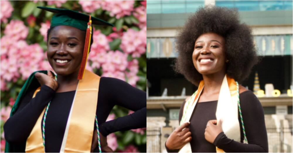 Maths 'shark': Brilliant lady drops beautiful photos as she bags degree in Maths from top university
