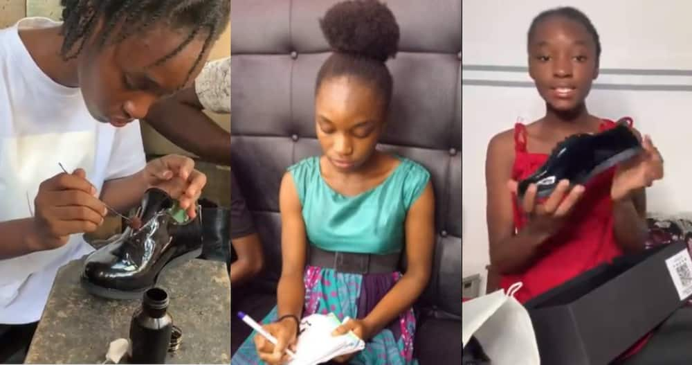 Female student who works as a shoemaker captures herself creating shoe from scratch