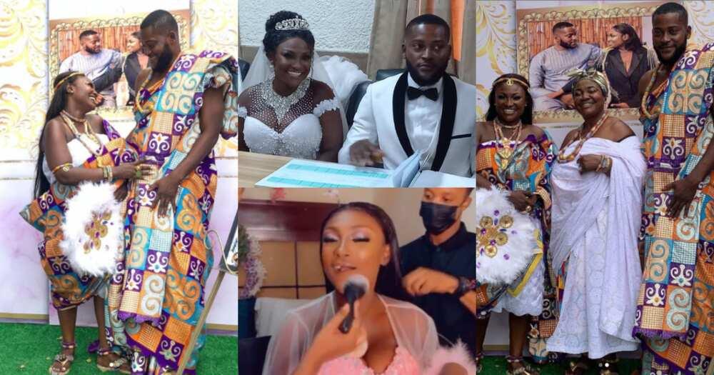Awareso: First photo from Despite Media's Abena Moet and husband white wedding drops