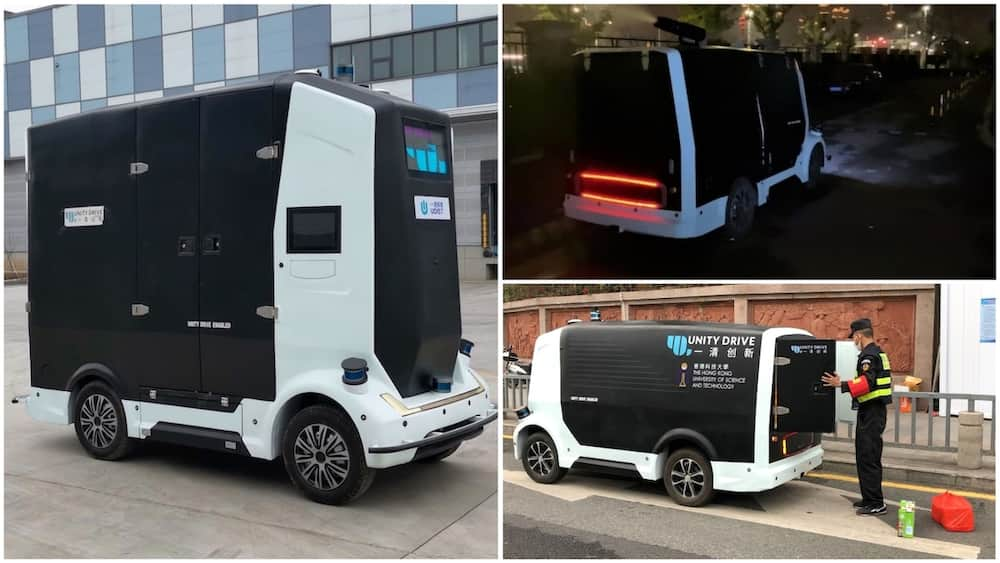 A collage showing the self-driving van. Photo source: Spectrum