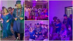 Oyinbo lady dresses in traditional attire as she marries African man, adorable video pops up