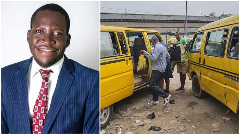 A collage showing the man and an illustrative picture of yellow buses in Lagos state.  Photos sources: Twitter/@neldom2010/Getty Images