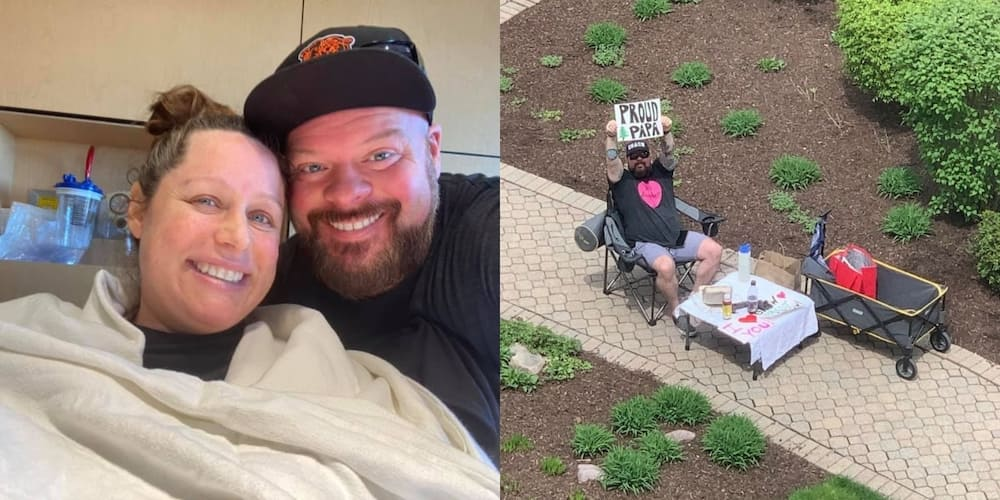 Sweet husband who shared date nights with pregnant wife through hospital window welcomes son