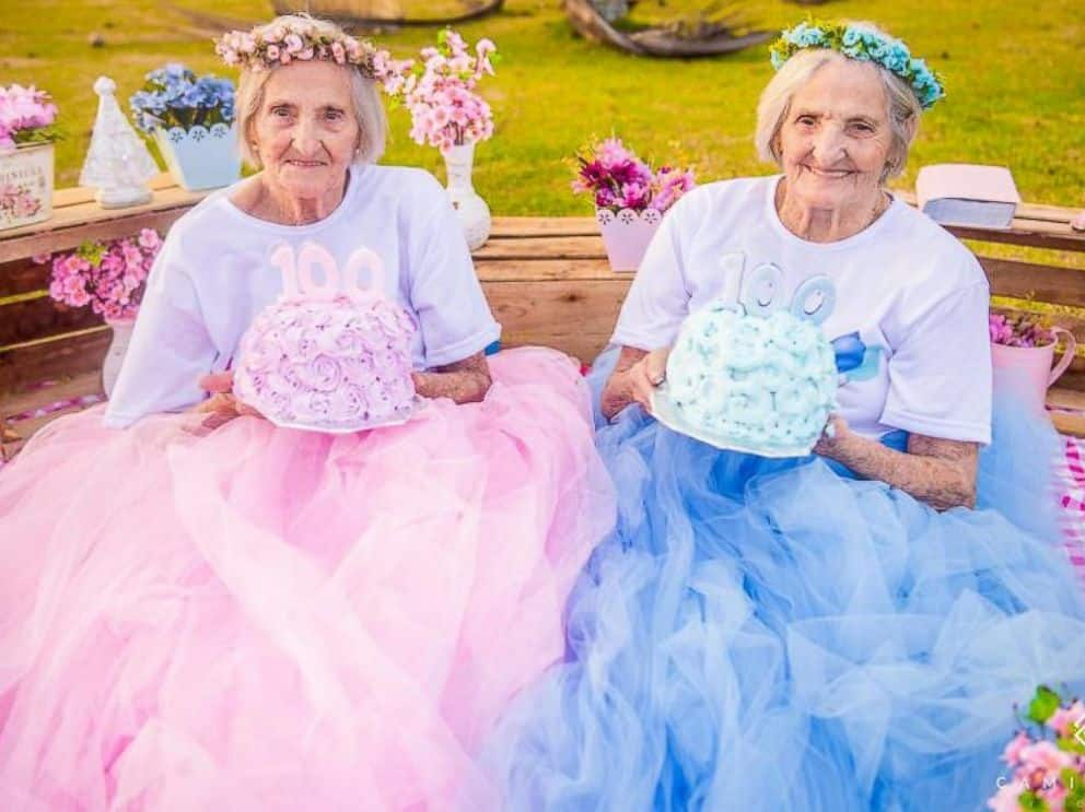 Twin sisters celebrate their 100th birthday in beautiful photos