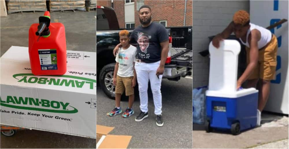 Kind man buys young boy selling pure water to save for lawn mower new machine (photos)