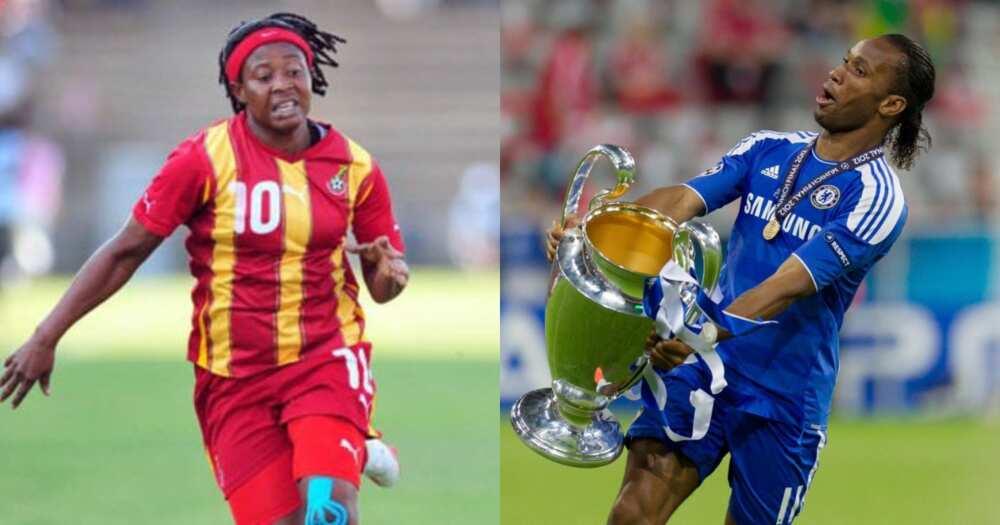 Former Black Queens captain Adjoa Bayor meets Chelsea legend Drogba