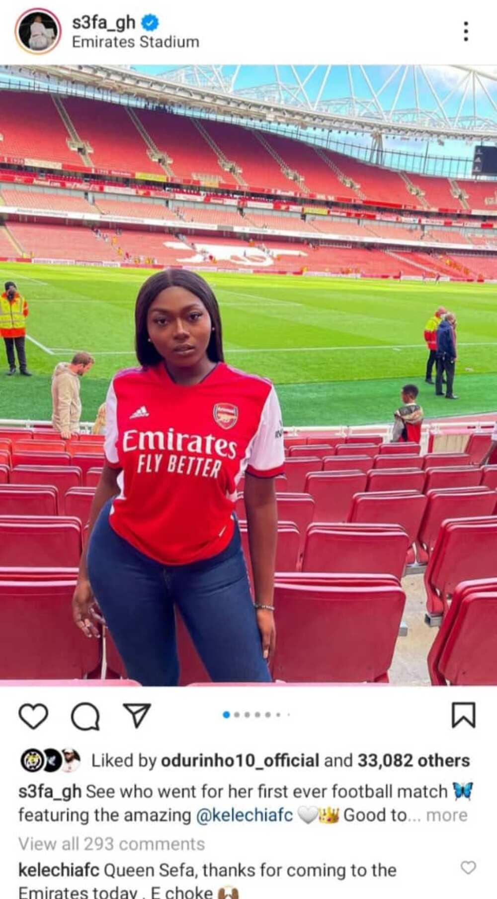 Ghanaian singer Sefa glitters in Arsenal jersey as she watches pre-season friendly against Chelsea