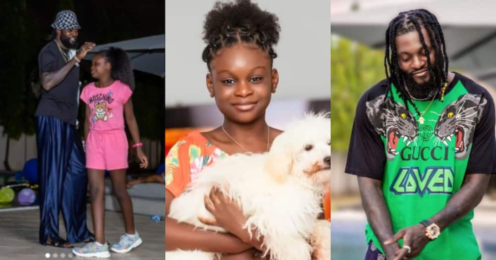 Emmanuel Adebayor poses with daughter Kendra in a first-year photo as he shares message to thank fans