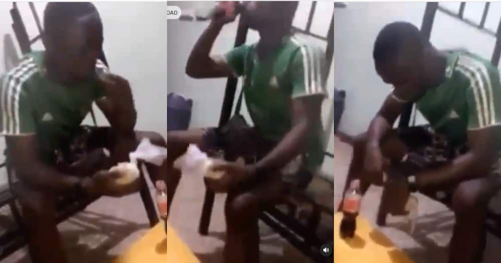 Young broken-hearted man eats banku with coke after girlfriend left him (video)